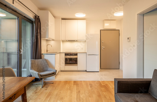 Obraz Interior of a modern micro apartment with living room and kitchenette - fototapety do salonu