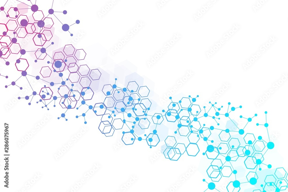 Fototapeta Structure molecule and communication. Dna, atom, neurons. Scientific concept for your design. Connected lines with dots. Medical, technology, chemistry, science background. Vector illustration.