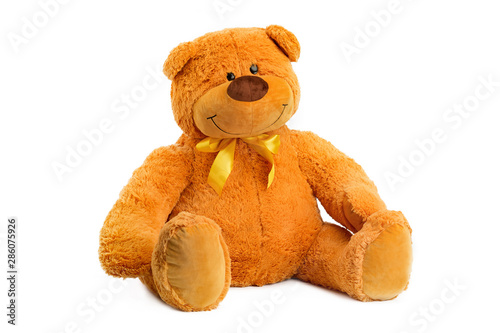Fotografie, Obraz  Image of brown toy teddy bear sitting at white isolated background