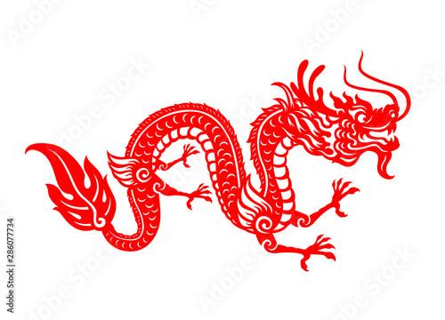 Fototapeta Red paper cut a China Dragon symbols vector art design obraz