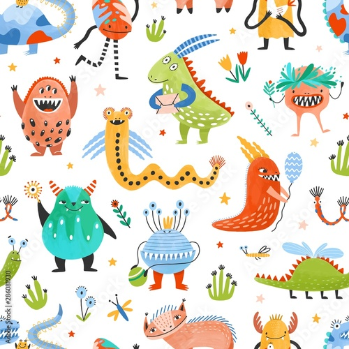 Fotografie, Obraz Seamless pattern with strange charming fantastic monsters, magical fairytale creatures, funny mutants on white background
