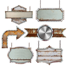 Set Of Old Metal Steel Sign Isolated On White Background