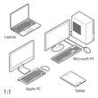Computer, verschiedene Ausführungen [schwarz-weiß]