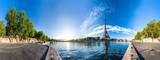 Fototapeta Fototapety z wieżą Eiffla - Scenic panorama of the Eiffel Tower and the riverside of Seine in Paris, France. 360 degree panoramic view