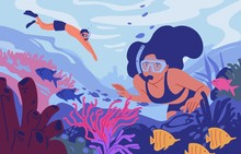 Young Man And Woman In Diving Masks Swimming In Sea Or Ocean And Observing Coral Reef. Pair Of Snorkelers Watching Marine Fauna. Underwater Recreational Activity. Flat Cartoon Vector Illustration.