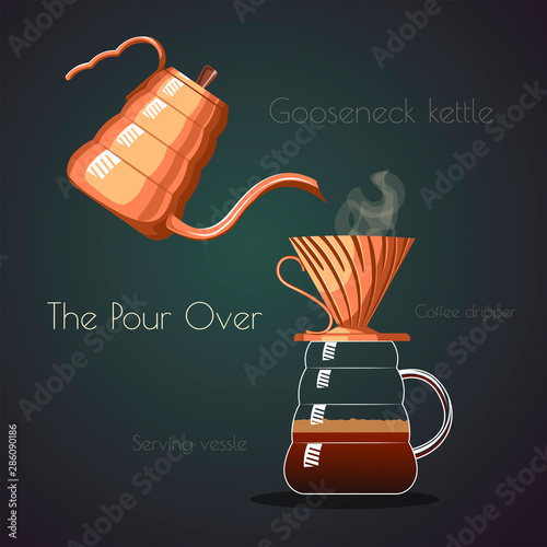 Serving vessel with coffee dripper and gooseneck kettle on the dark background Fotobehang