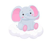 Cute Grey Elephant On Cloud. Children Illustration