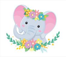 Head Of Grey Elephant In Flowe...