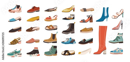 Collection of stylish elegant shoes and boots of different types isolated on white background. Bundle of trendy casual and formal men's and women's footwear. Flat cartoon colorful vector illustration. - 286093725