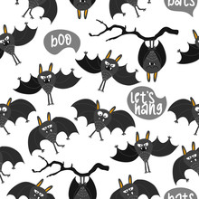 Boo Bats Background - Funny Vector Character Drawing Seamless Pattern. Lettering Poster Or T-shirt Textile Graphic Design. / Cute Lion Character Illustration. Wallpaper, Wrapping Paper.