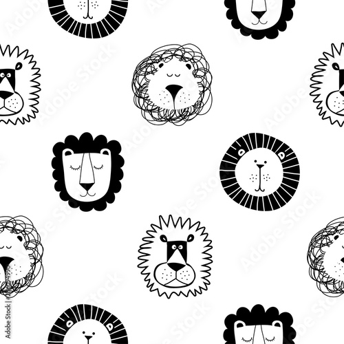 Roar Lion and cute lion pattern - funny vector character drawing seamless pattern Canvas Print