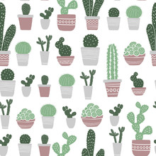Seamless Pattern With Pots And Flowers