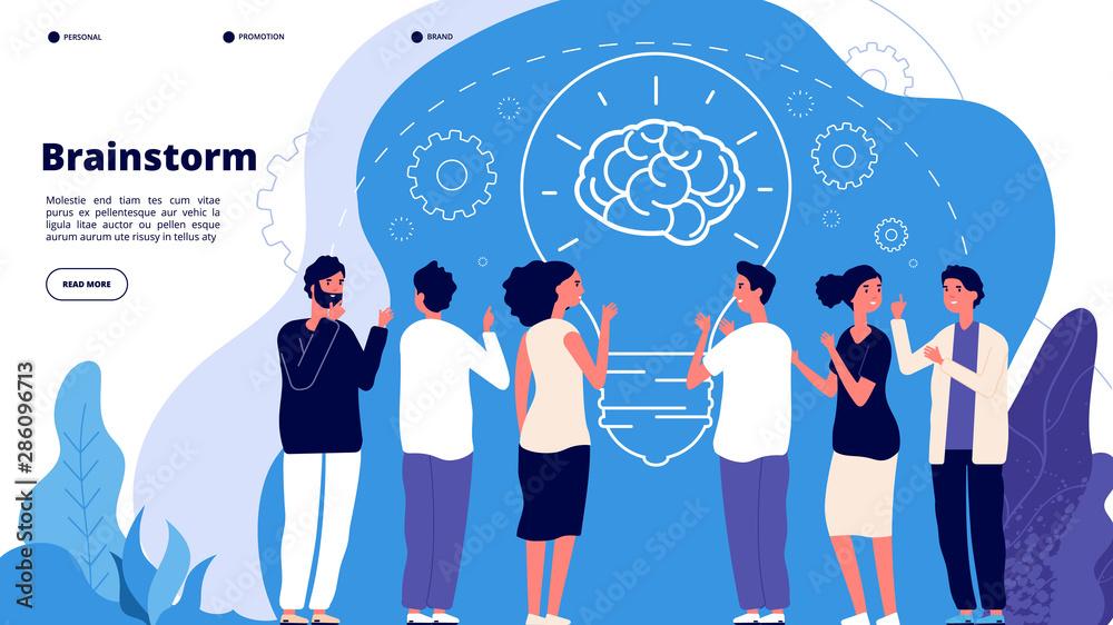 Fototapeta Brainstorm concept. Professionals launching creative project, brainstorming. Startup innovation teamwork business vector landing page. Illustration startup brainstorming, teamwork, strategy team