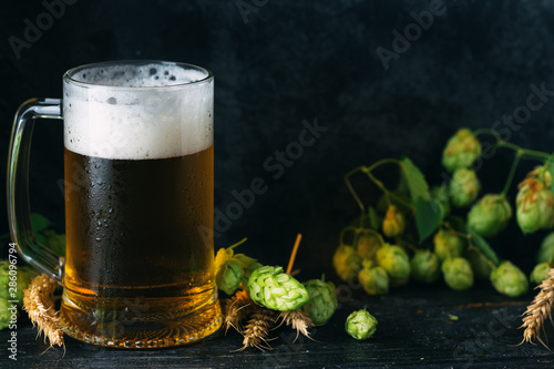 Fotografía  Beer mug on dark background with green hops and space for text