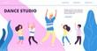 Dance studio landing page. Vector happy dancing kids and man. Flat dancer characters illustration. Man with kids, dancer studio page