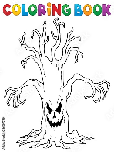 In de dag Voor kinderen Coloring book spooky tree thematics 1