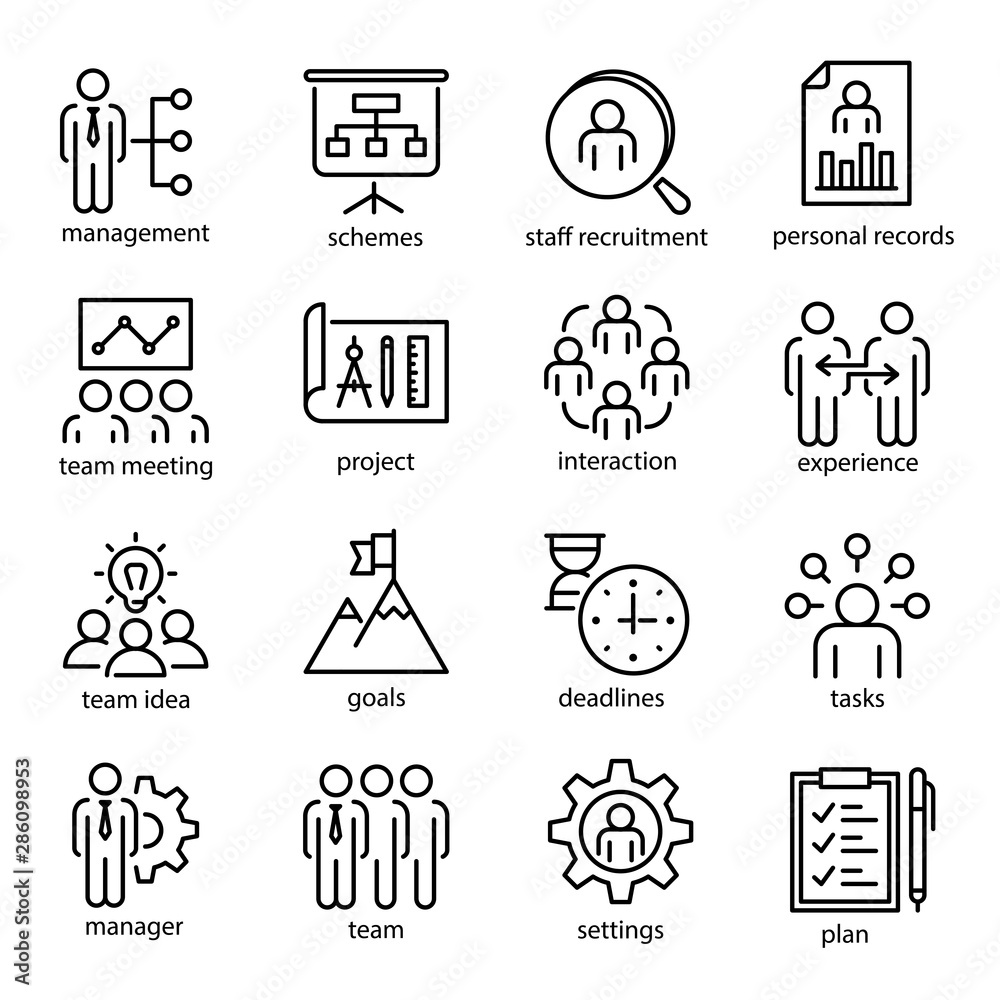 Fototapeta Management vector linear or outline isolated icons set