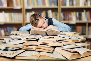 Tired School Child Sleeping on Books, Bored Boy Studying in Library, Hard Education