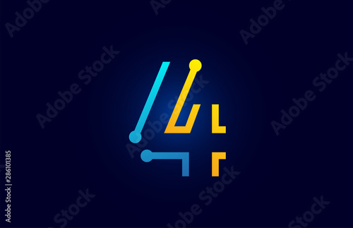 Cuadros en Lienzo  number 4 in blue and orange color for logo icon design
