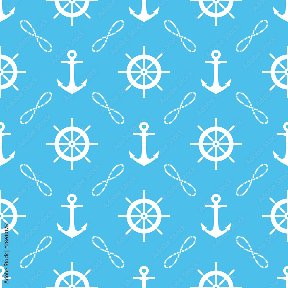 Seamless pattern with ropes, anchors and rudder. Marine theme.