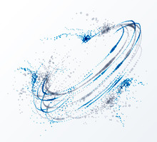Dotted Particle Whirl Flowing Vector Abstract Background, Life Forms Bio Theme Microscopic Vortex Design, Dynamic Dots Elements In Spin Motion.