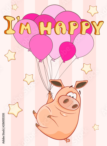 Poster Baby room Happy Birthday Card Little Pig with Balloons. Vector Greeting Card. Happy Moment. Congratulation