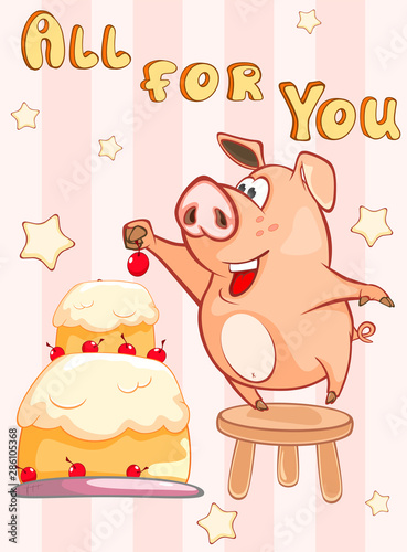 Poster Baby room Happy Birthday Card Little Pig with Gift Pie . Vector Greeting Card. Happy Moment. Congratulation