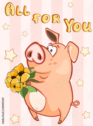 Poster Baby room Happy Birthday Card Little Pig with Gift Flowers. Vector Greeting Card. Happy Moment. Congratulation