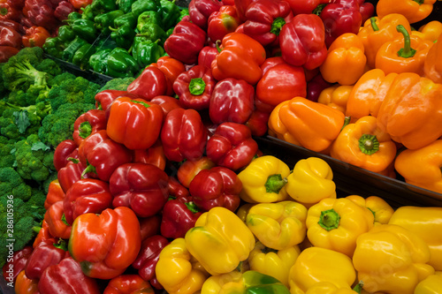 Fototapety, obrazy: colorful bell and sweet peppers in the store shelf