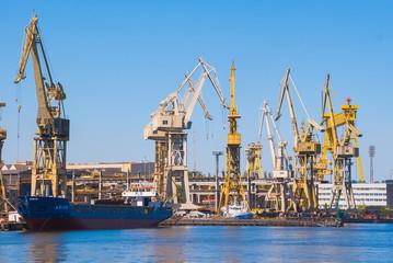 Żurawie w Szczecinie nabrzeże stocznia przemysł stoczniowy budowa statków transport przeładunek lato