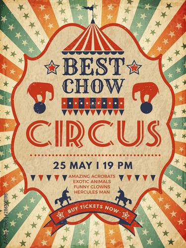 Circus poster. Retro placard magic invitation for circus mascarade event show vector template. Illustration circus poster, placard entertainment