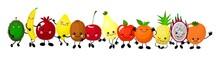 A Set Of Cute Fruit. Illustrat...