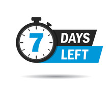 7 Days Left. Count Timer Icon....