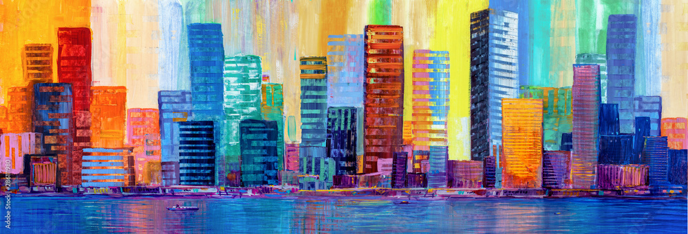 Fototapeta Artistic painting of skyscrapers.Abstract style. Cityscape panorama.