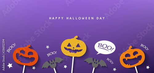 happy halloween day banner vector design 2019 - 286112394