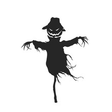 Black Silhouette Of Scarecrow. Halloween Party. Isolated Image Of Garden Monster. Scene With Fantasy Pumpkin