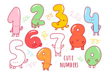 Hand Drawn Cute Numbers With F...