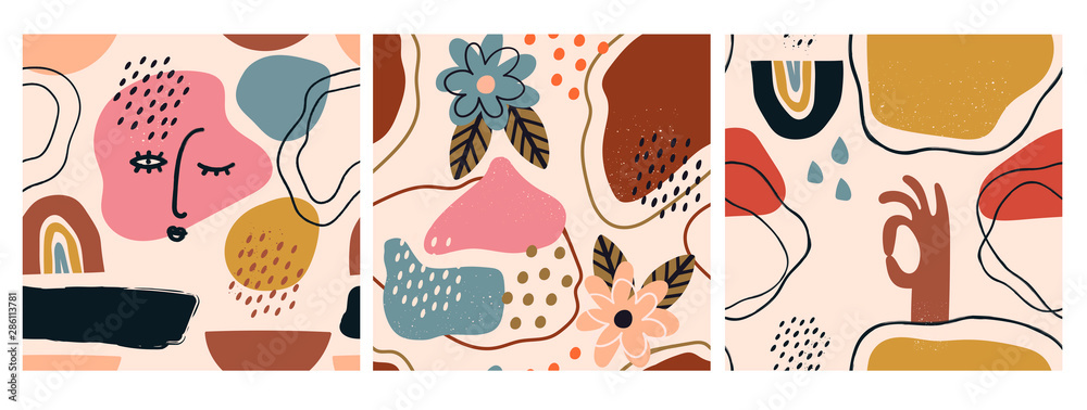 Fototapeta Hand drawn various shapes and doodle objects. Set of three abstract contemporary modern trendy vector seamless patterns. Perfect for textile prints. Every pattern is isolated
