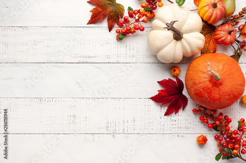 Cadres-photo bureau Fleur Festive autumn decor from pumpkins, berries and leaves on a white wooden background. Concept of Thanksgiving day or Halloween. Flat lay autumn composition with copy space.