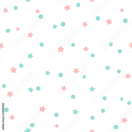fototapeta na ścianę Seamless pattern with stars and round spots. Cute print. Simple vector illustration.
