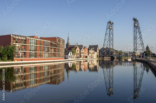 Tela  Boskoop, Netherlands - 08 24 2019:The Boskoop lift bridge in Boskoop is part of a set of 3 lift bridges