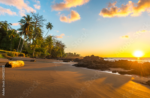 Tropical sunset along the Pacific Coast of Costa Rica with palm tree silhouettes inside Corcovado National Park in the Osa Peninsula, Central America Tableau sur Toile