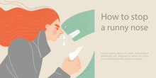 How To Stop A Runny Nose. Symbolic Illustration With A Cold Girl And A Large Green Snake Symbolizing The Disease.