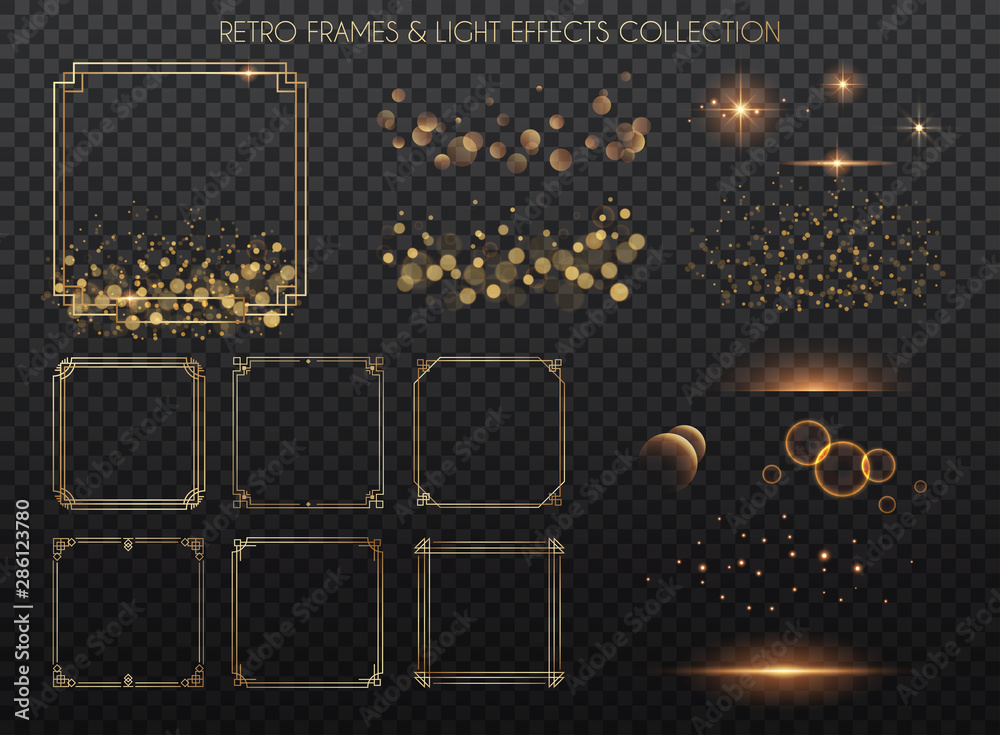 Fototapety, obrazy: Retro frames and light effects collection.  Copper lights effects. Sparkle and glitter. Vector illustration.