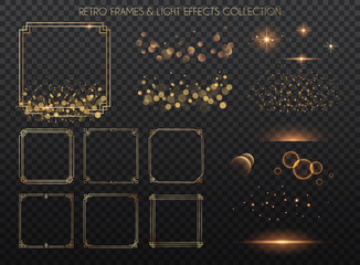 Retro frames and light effects collection.  Copper lights effects. Sparkle and glitter. Vector illustration.