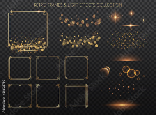 Retro frames and light effects collection Canvas Print