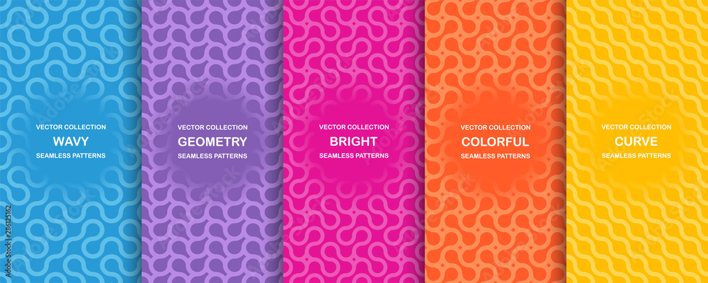 Fototapeta Set of bright vector colorful seamless geometric wavy patterns - creative design. Vibrant curly backgrounds, endless curve textures