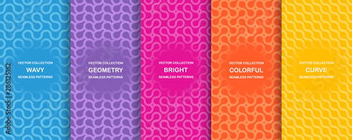 Fotomural Set of bright vector colorful seamless geometric wavy patterns - creative design