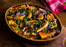 Close Up Of Roasted Squash And Onions In Bowl