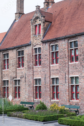 Building made up of bricks dating from the medieval times in Bruges, Belgium Canvas Print
